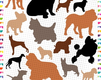 Dog Silhouettes, Dog svg, Golden, Collie, Pitbull - Dog breeds - Silhouette Design, Cricut Design – svg eps jpg dxf and png - Cut Files