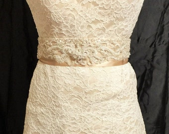 Lace Gown with beaded sash size 10