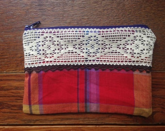 Handmade Purse Vintage & Upcycled Fabric Clutch Check