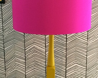 Drum Lampshade in Cerise Pink Silk Dupion with Metallic Copper lining