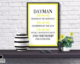 Dayman Print, Always Sunny In Philadelphia, Funny, Nightman, Song Lyrics, Illustrated, Poster, Gift