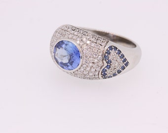 Domed Sapphire and Diamond ring