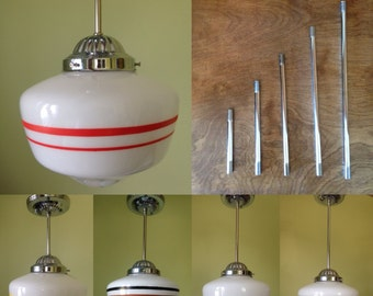 CUSTOM Painted Art Deco or Midcentury Schoolhouse Light with Choice of Fixture
