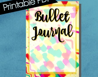 Bullet Journal Cover, composition notebook cover, printable, notebook cover, bullet journal accessories, colorful, multi pattern, yellow