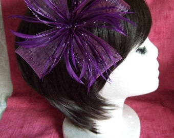 Purple Fascinator. Cadbury Purple looped net & feather flower fascinator on a forked clip / brooch pin. Wedding Fascinator, Purple Headdress