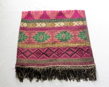 Large Yak Wool Shawl with Pink and Green Design, Scarf, Blanket, Wrap