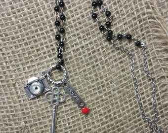 Camera Necklace. Camera Love. Beaded Necklace with Camera Charm. Camera is the Key to Love.