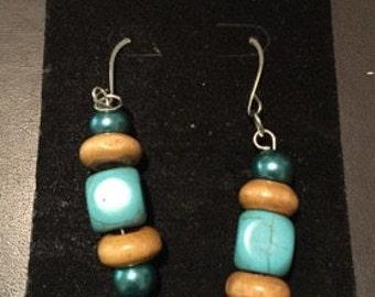 Turquoise & wood beaded earrings