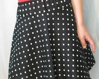 Girl's half circle skirt - black with white polka dots