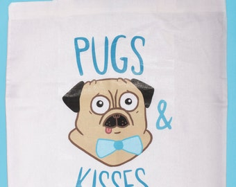 "Jute bag ""Pugs & kisses"""