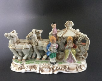 Vintage Capodimonte Stye Coach Wagon With Victorian People