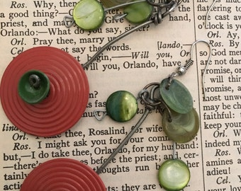 orange and green bead earrings
