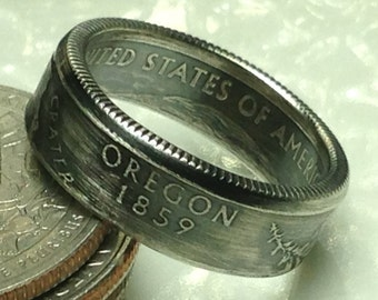 Silver State Quarter Coin Ring (90% Silver) See description for available States