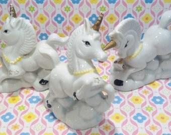 Unicorns Porcelain Kitschy Vintage Set of 3