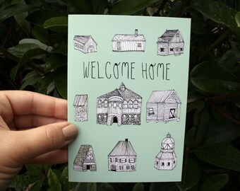 Illustrated Card - Housewarming Card - Welcome Home - Blank Card - Architectural Illustration