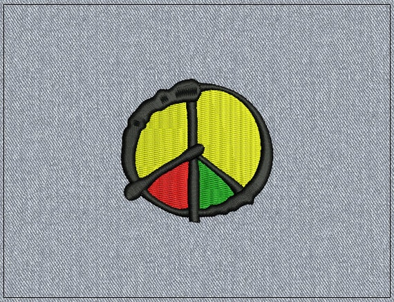 Peace sign - Michael Jackson Olodum style - Machine embroidery design - 2 sizes for instant download