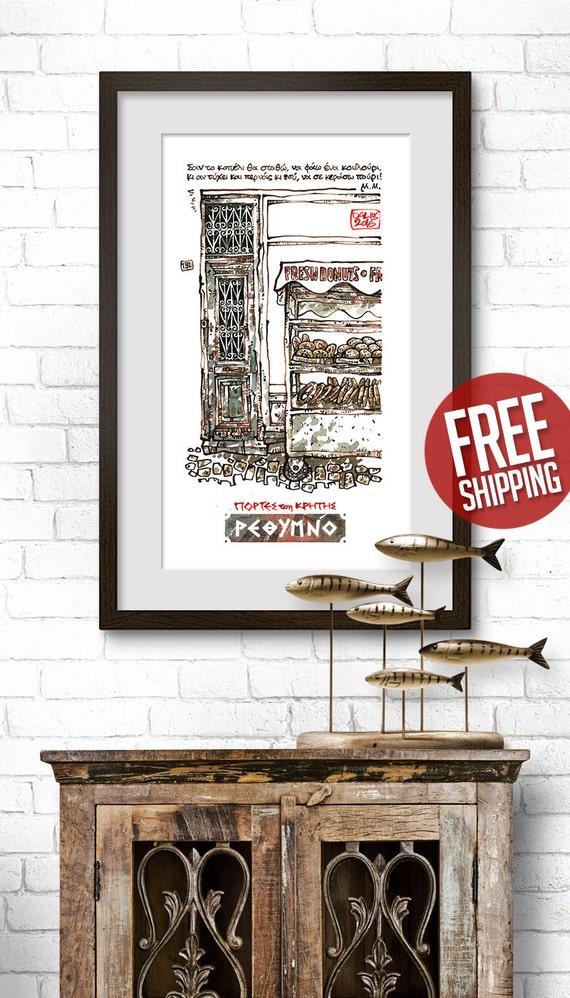 CRETAN DOOR #03, Venetian Style Door, Old House Painting, Ink & Watercolor, Giclée Print, Art Poster, Home Decor, FREE Worldwide Shipping!