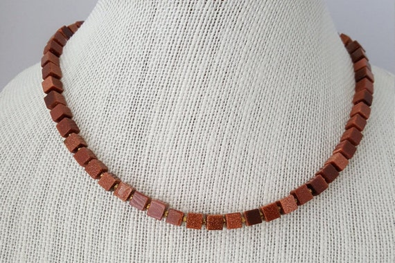Goldstone necklace with square beads