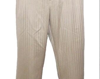 Pleated Front Straight Leg Tan Dress Pants Size 42 - 30
