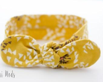 Mustard Top Knot Headband / Baby Headband / Knot Baby Headwrap / Mustard Headband / Tie knot Turban Headband / Christmas Gift / Stocking
