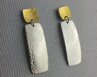Gold Dangle Earrings, Mixed Metals, Hammered Texture, Keum Boo, 24k Gold, .935 Argentium Sterling Silver, High Polish, Ready to Ship