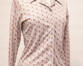 SALE 70s Sears Roebuck Disco Style Gray Polyester Collared Shirt Women's Medium