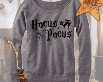 Halloween Hocus Pocus Off Shoulder. Wideneck Hocus Pocus Shirt. Halloween party. Funny Halloween Shirt. Hocus Pocus Witches. Fleece.