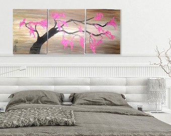 Modern Pink Flowers Tree Painting Cherry Blossoms Original Acrylic Canvas  Feng Shui Landscape
