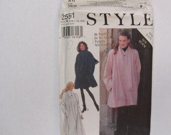 Style 2551 coat pattern sizes s m l xl xxl unused complete