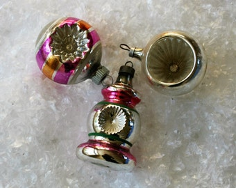 Vintage Glass Christmas Ornaments  - Shiny Brite - Reflector Glass Ornaments - Polish - Shabby Chic - Mid Century - Set of 3