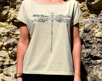 Dragonfly T-Shirt, Women Top, Grey Tees, Loose Beige Top with Dragonfly Screen Print, Screen Printed TShirt, Yellow Tees, T-Shirt for Her