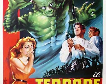 The Creature Walks Among Us Italian Il Terrore Sul Mondo Movie Poster Art - Vintage Horror Print Art - Home Decor - Movie Theater Poster