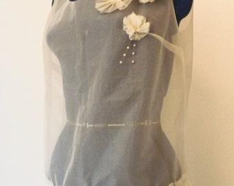 Unique 90s sheer flower detail sleeveless top - wedding top