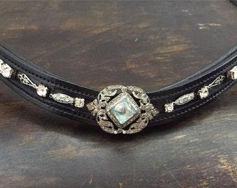Art Deco Couture Aquamarine Browband w/ Silver & Rhinestones