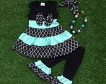 Black and Teal Bow Dress with Ruffle Pants with Accessories