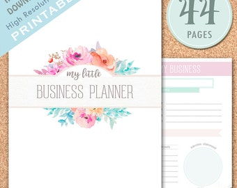 25% OFF! SALE! PRINTABLE Small Business Planner, Etsy Business Organizer, Etsy Shop Management, Home Business, Floral Planner, Pastel