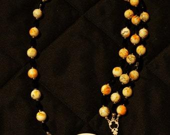 Yellow, Black, and White Statement Necklace
