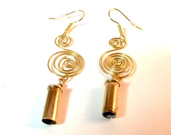Bullet Jewelry- 22 Caliber Bullet Spiral Earrings