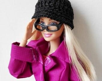 Black Barbie doll cloche hat, fashion doll hat