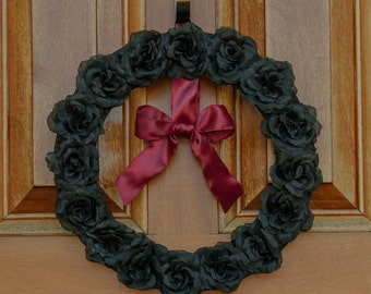 Romantic Black Roses and Satin Ribbon Wreath   Victorian Elegance or Gothic Romance   Or for that very special wedding!