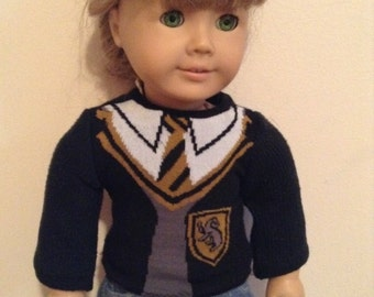 Harry Potter Hufflepuff sweater for American Girl AG doll clothes