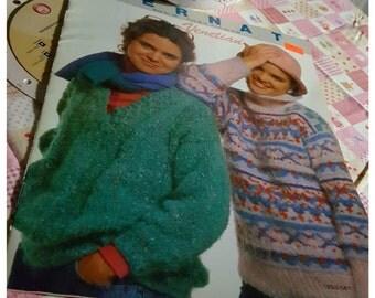1986 Bernat #581 Venetian Sweaters Knitting Pattern OOP