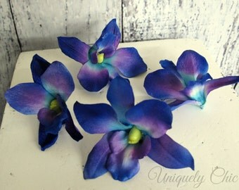 Bridal hair pins, Blue orchid hair accessory,Blue flower hair piece, Blue and purple orchids,  gift for bridesmaid