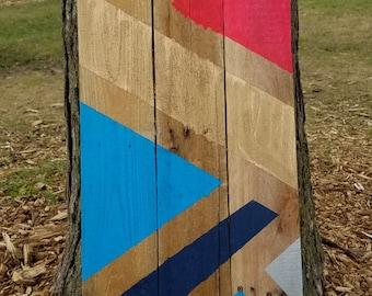 Geometric Neon Reclaimed Wood Sign Wall Hanging