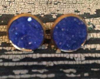 Handmade royal blue Druzy stud earrings