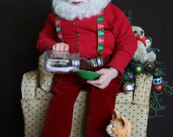 Santa art doll NITETIME SHARING original polymer clay sculpture designed by Sue Menz