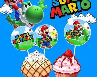 Super Mario Cupcake Toppers, Mario Theme, Toppers, Mario Stickers, Birthday Party, Printable Cupcake Toppers, Stickers, Instant Download
