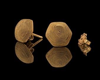 18k Yellow Gold Earrings, Stud earrings, Solid gold Earrings