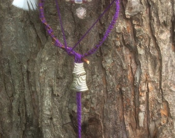On sale february - Dreamcatcher violet, pink quarzt pendant and feathers, amulet violet pink stone recycled jewel, medallion
