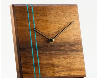 Wall Clock - The Stripes in Tasmanian Blackwood with colour accents